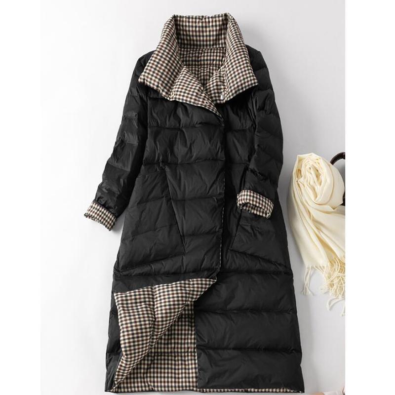 Sedutmo Winter Plus Größe 3xl Ente Daunenjacken Frauen Lange Ultra Light Plaid Coat dünne Doppelseitige Herbst Wattierte Jacke Ed1207