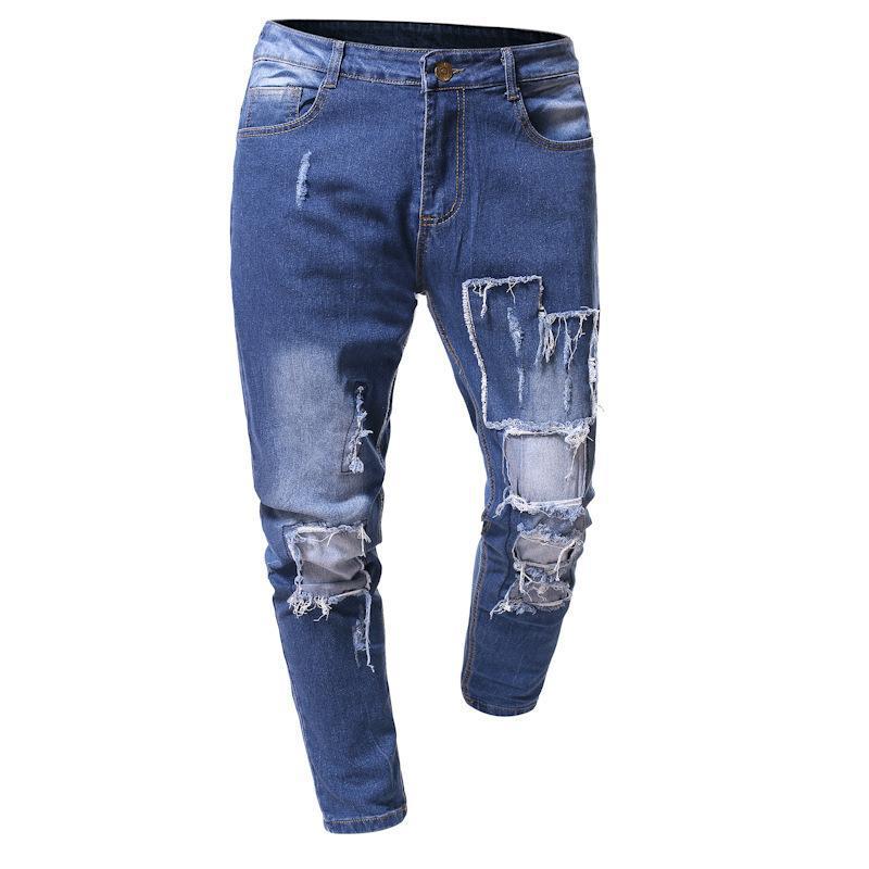 vaqueros para hombre otoño invierno 2020 de la cadera delgada pantalones vaqueros flacos hombres hop de moda Agujero rasgado los pantalones clásicos de streetwear
