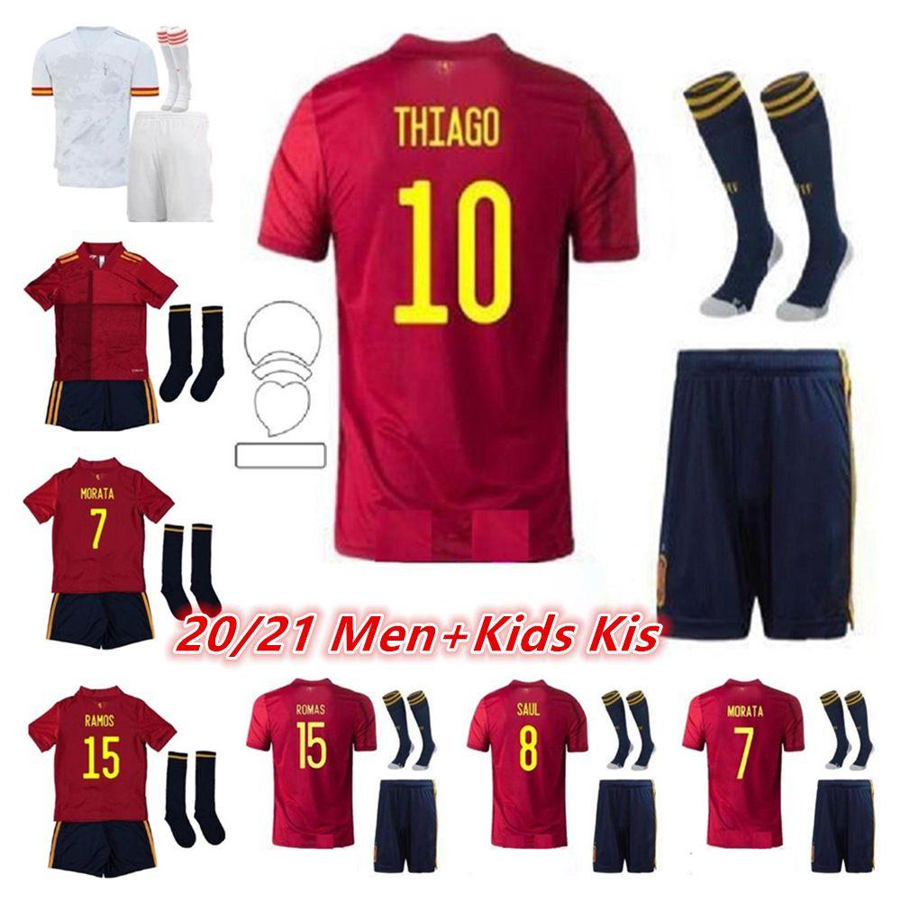 성인과 아이들 2020 2021 스페인 축구 저지 Ramos Thiago 20 21 National Team Diego Costa Rodri Men + Kids Football Shirt Camisetas de Fútbo