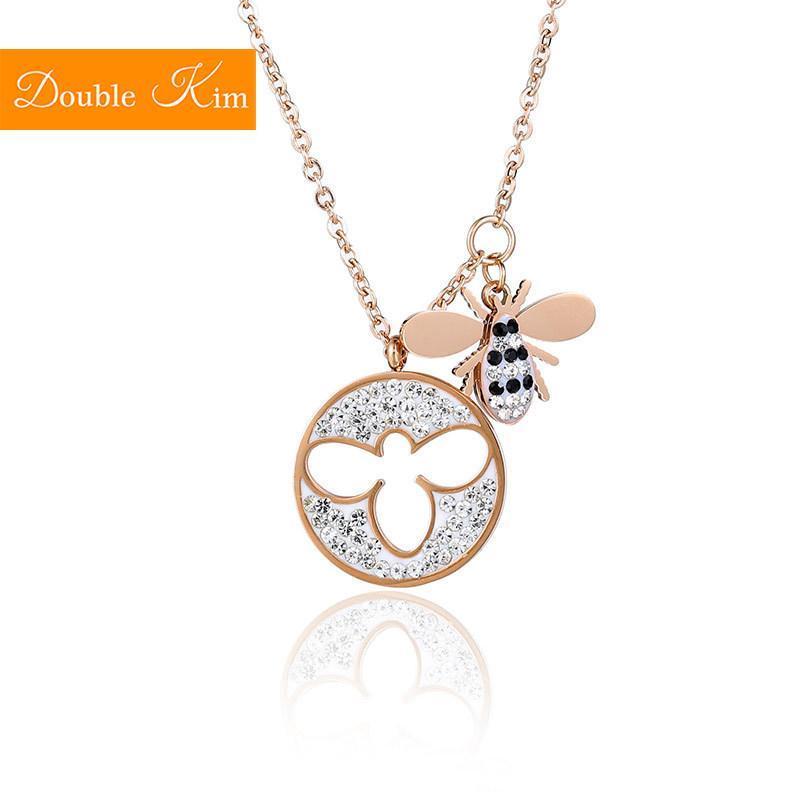 Petite abeille Pendentif Collier Zircon Titanium Steel Chaîne en acier inoxydable Rose Gold Chain Collier Mode Trendy Femmes Bijoux Cadeau