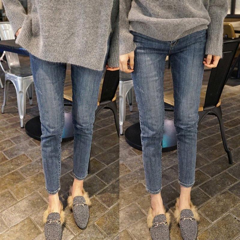 Pengpious inverno autunno pantaloni spandex del cotone denim per le donne della vita elastica dei pantaloni della matita di grandi jeans di formato blu sc6R #