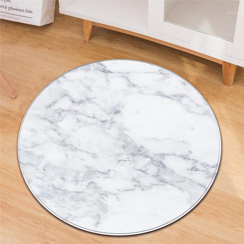 Mármol blanco negro impreso alfombra redonda para sala de estar sofá antideslizante tatami tatami tapete alfombra kilim tapis salon tapis salon1