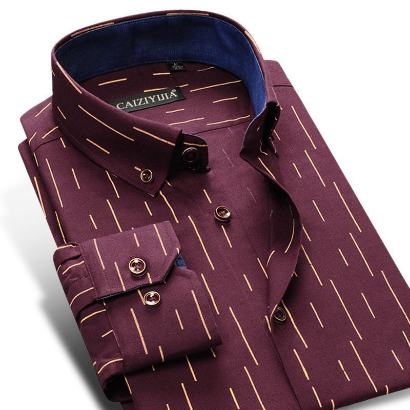 dos homens Moda manga comprida listrada impressa Oxford Camisas de alta qualidade confortável Standard-Fit tecla para baixo Casual Grosso shirt