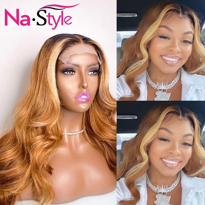 Кружевные парики цветные человеческие волосы для чернокожих женщин 13x4 мед белокурый фронт с младенцем Mbre Body Wave Remy 150% плотность