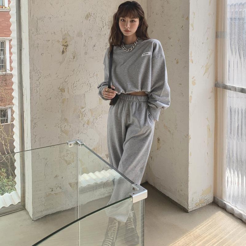 2021 Otoño All-Match Streetwear Fashion Cuello redondo Sudadera + Pantalones de pierna ancha de cintura elástica Gris Set de dos piezas V921