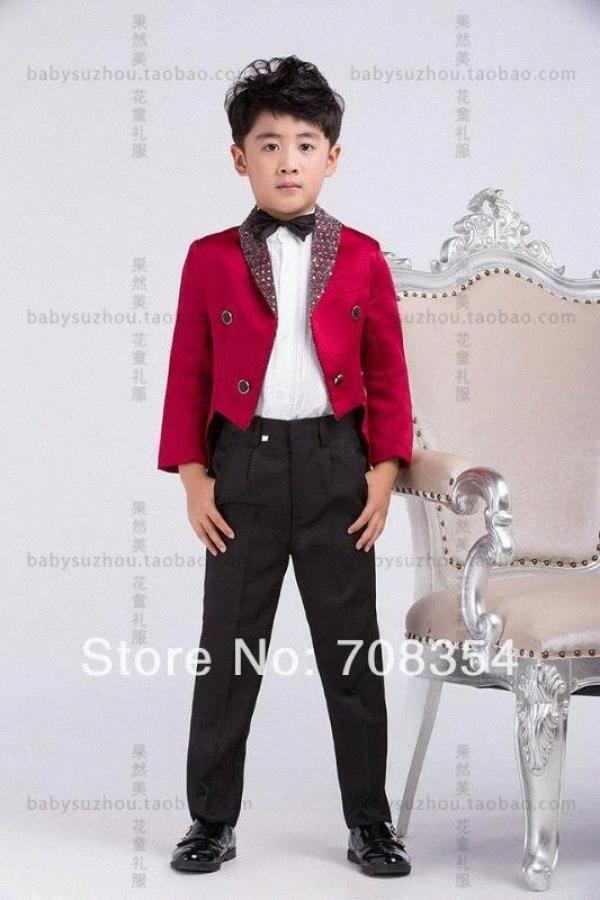 Personality Elegant Fashion Rose Red Boy's Wedding Suit/Boy's Cool Tuxedo /Boy's 4-piece Set Suit 11 w351#