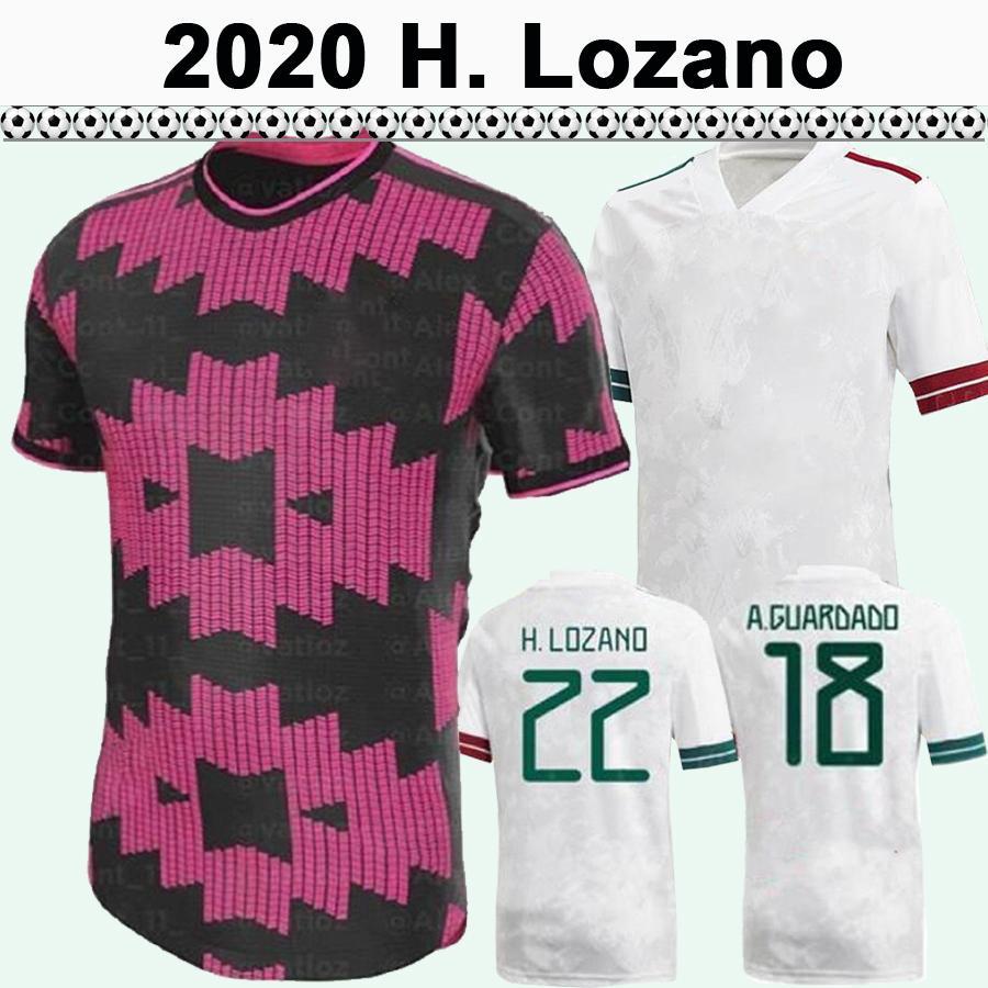 2020 México Chicharito Mens Futebol Jerseys A.Guardado Casa Away Goleiro Camisas de futebol Lozano R.Jimenez H.Herrera Manga Curta