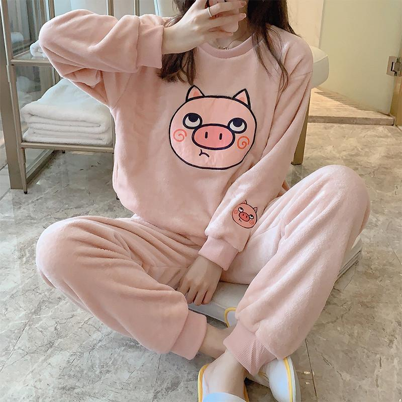 Finetoo kadın Kış Flanel Pijama Set Bayan Polar Pijama Pamuk Pijama Ev Giyim Kalın Sıcak Mercan Kadife Suit W1225