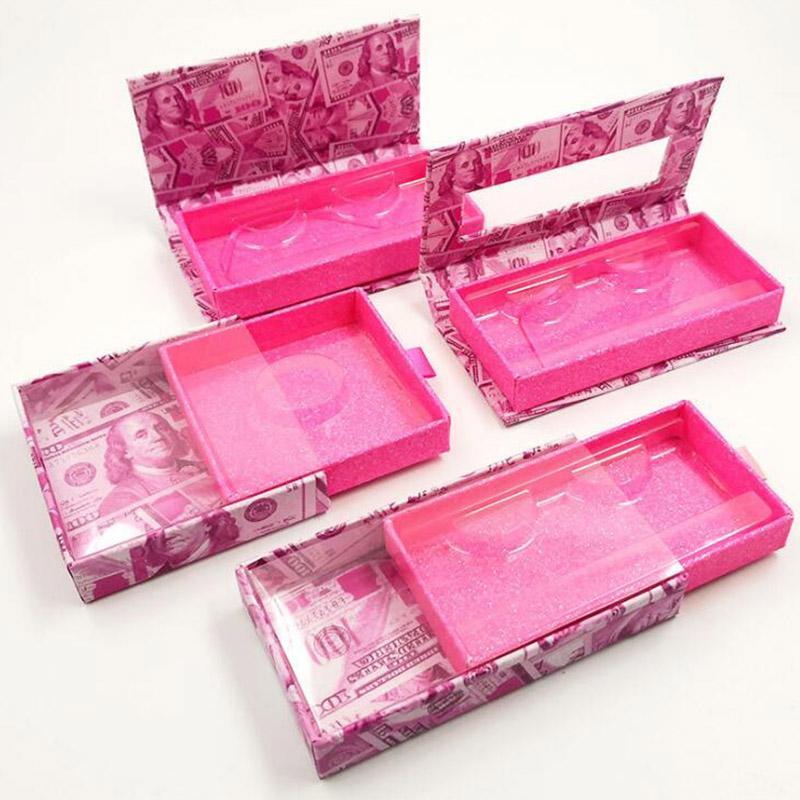 Mink Wimpern Box US-Dollar Wimper Verpackung Leere Lash Fall Wimper Box ohne Wimpern Geld Verpackung Lash Boxes