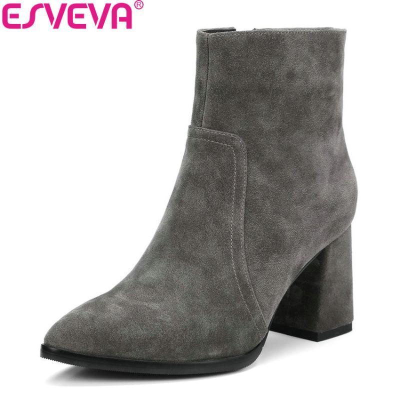 Esveva 2021 Boots Boots Solid Cow Suede Suede Fashion Square Tacchi alti Stivaletti Stivaletti Concise Cerniera con cerniera Punta Scarpe da donna Dimensioni 34-39