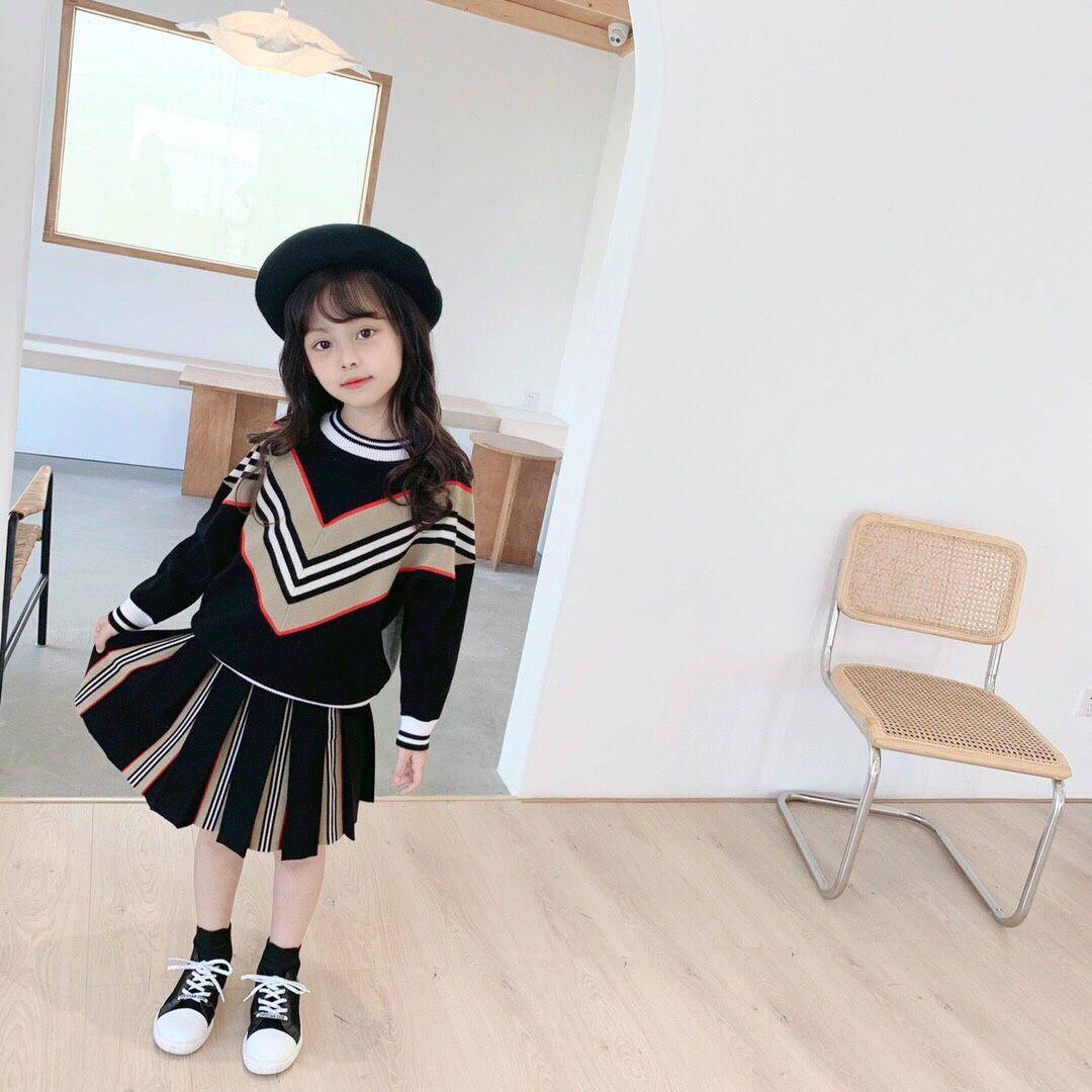 2020 Yeni Çocuklar Kazak Sonbahar Kış Bebek Kız Erkek Kazak Siyah Pembe Kazak Pamuk Yürüyor Çocuklar Için Örme Etek