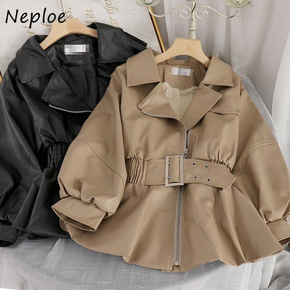 Neploe Moda Faux cappotto dell'unità di elaborazione di stile coreano Gira-giù rivestimento del collare di cuoio sottile Outwear pieno autunno delle donne con cintura