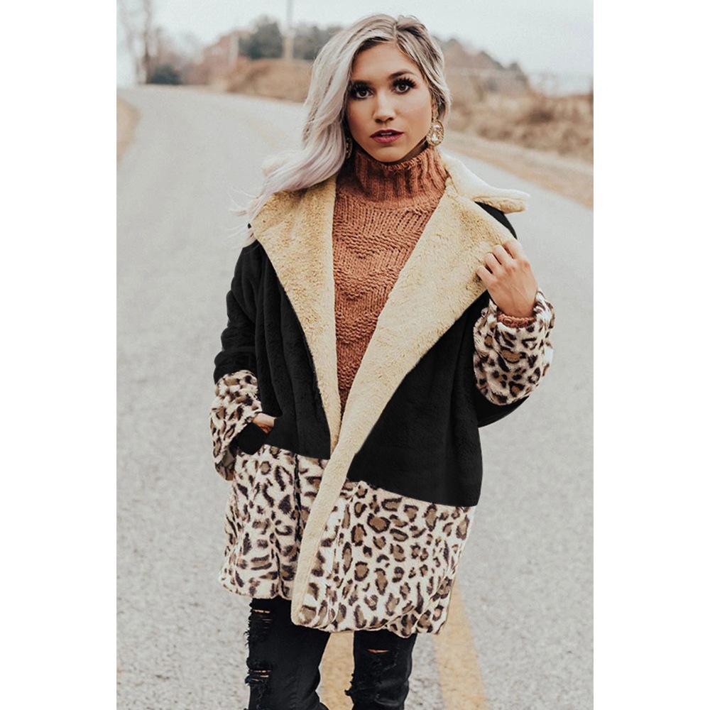 ليوبارد المرقعة إمرأة مصمم الستر القطيفة فضفاض الشتاء النساء المعاطف الدافئة التلبيب الرقبة المفتوحة غرزة الساخن بيع ملابس خارجية