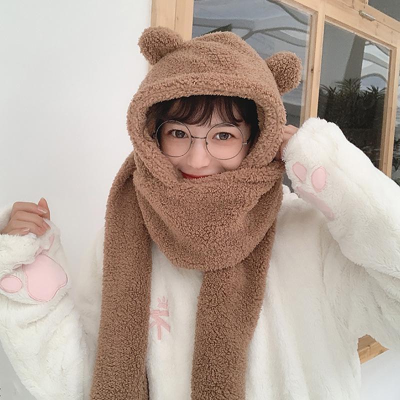 Mütze / Schädelkappen 2021 Winter Frauen Neuheit Warme Niedliche Bär Ohrhut Casual Plüsch Schal Handschuhe Set Solid Fleece