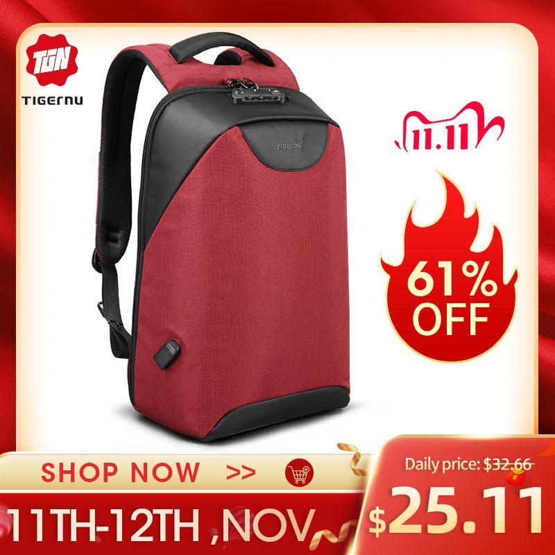 Tigernu Women Anti Theft TSA Lock female Laptop Backpack USB Charge School for Teenager girls Feminine Backpacks luggage Bag Q1113