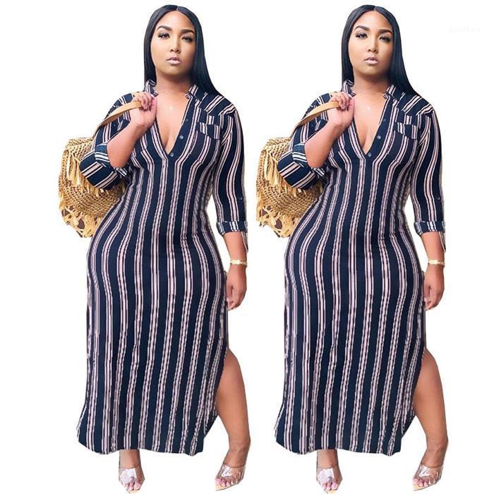 Женская дизайнер нашивки V шеи рубашка платья Мода осень с длинным рукавом Сплит Женщины Одежда Плюс Размер платья