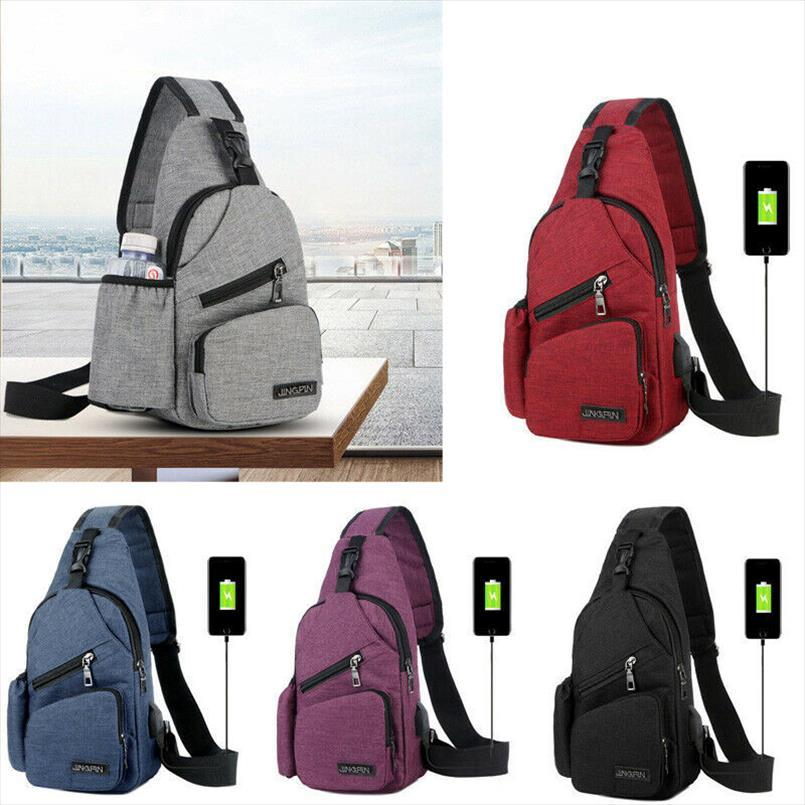 NoEnName Null Мужчины Женщины сумка плеча Sling Chest чемоданчик Открытый Путешествие Спорт USB зарядный Crossbody Сумки Сумочка