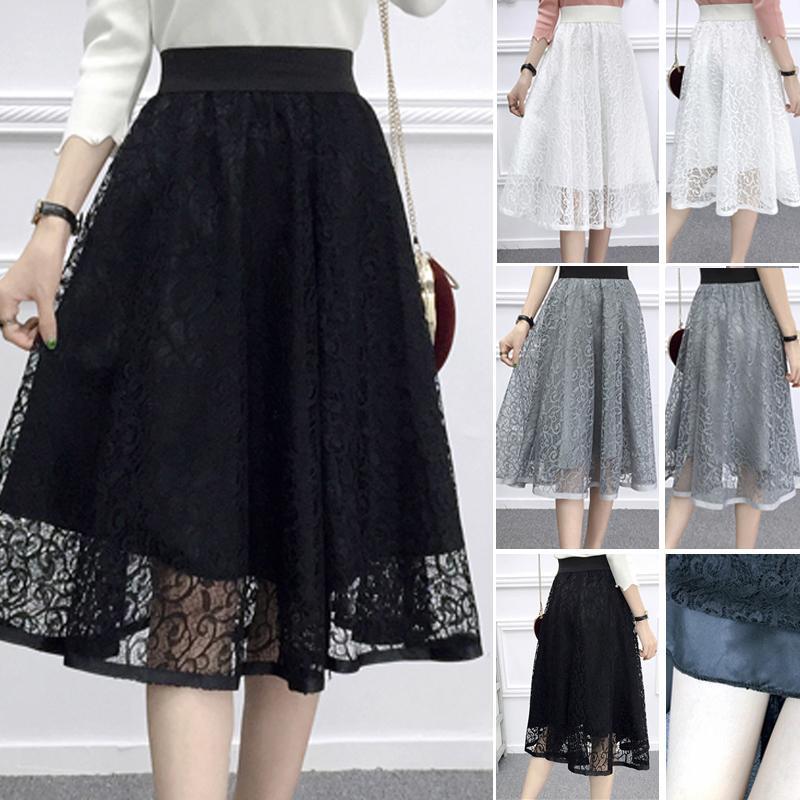 2020 Umbrella Skirt Casual Moda Primavera Estate e di donne della vita del merletto della garza hampes una linea lungo il pannello esterno femminile di trasporto di goccia 1014