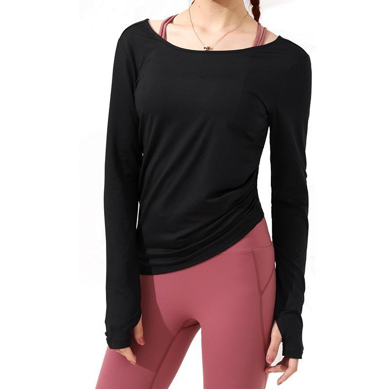 T-shirt قمم Teeswomen اللياقة البدنية اليوغا ممارسة طويلة الأكمام الجمال العودة تنفس مرونة سريعة الجافة أعلى أسود وردي أخضر أبيض
