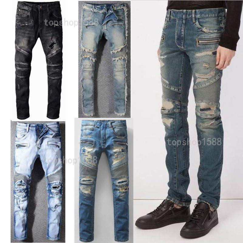 Mens Calças Calças De Calça Jeans Afligido Motociclista Rasgado Jean Homens Mulheres Slim Fit Motocicleta Motocicleta Denim Jeans Hip Hop Mens Jeans Tamanho 28-40