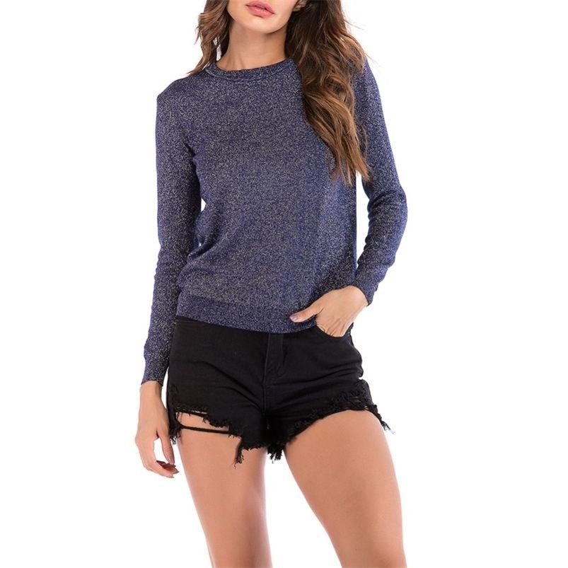 Brillante lurex otoño suéter de invierno mujeres manga larga jersey cuello redondo sweater básico suéter coreano brillo punto top qh1891 201223