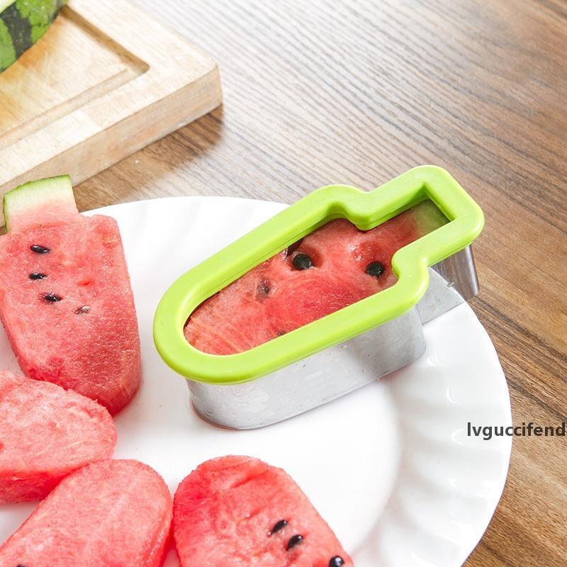 Popsicle Forma WaterMelon Cuchillo Home Fruit Cuchillos Partido Fruta Cortadores Helado Hami Melon Cuchillo Molde Herramientas de la Cocina GGA2065