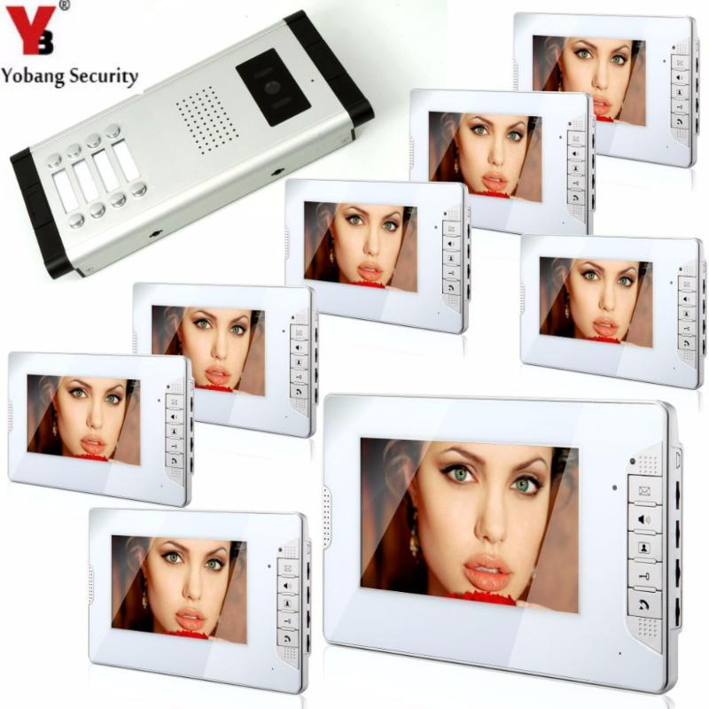 Yobang Güvenlik 7 İnç Daire Familes İnterkom Sistemi Audio Video IR Kamera Diyafon Kapı zili 3 ila 12 Flats / ev için
