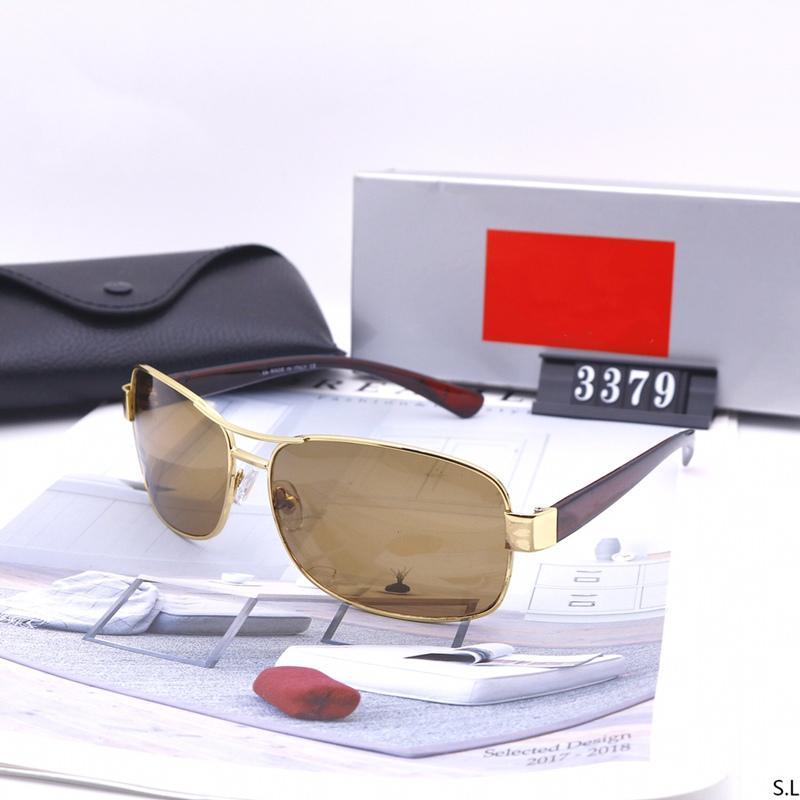 3 ألوان aviator نظارات شمسي الرجال والنساء الأزياء الكلاسيكية luxurys مصممين مربع جودة عالية القيادة النظارات الاستقطاب مع صندوق 3379