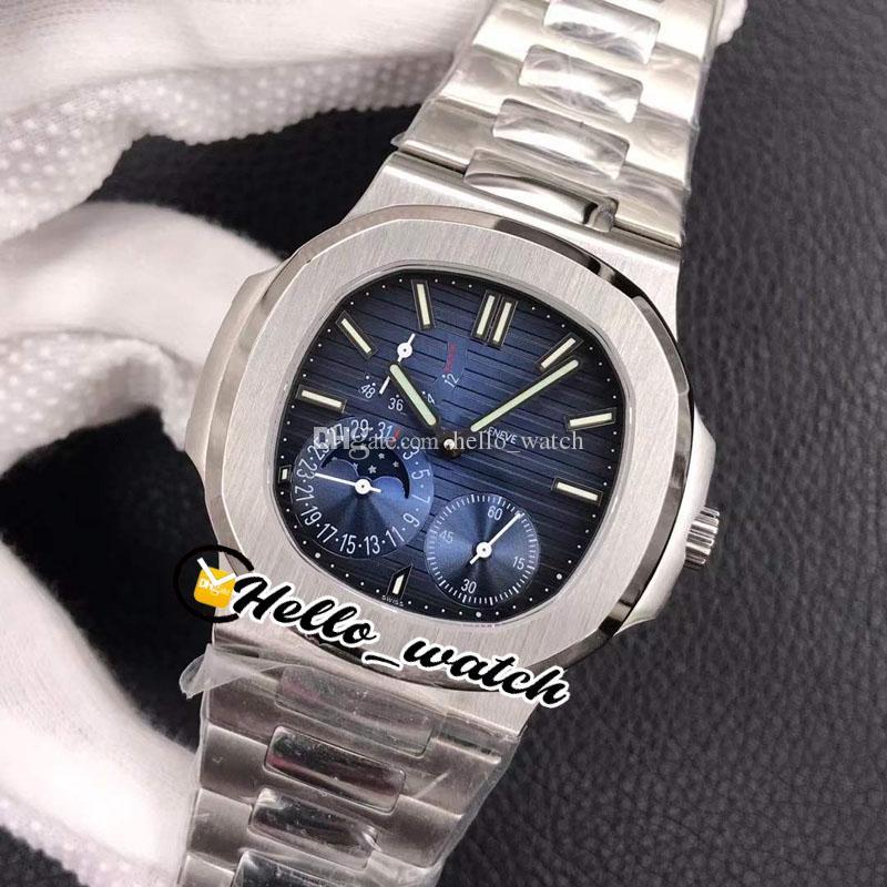 Лучший новый PFF 40 мм часы 5712 / 1a-001 5712 Механическая обмотка рука ручной спортивный фаза фаза D-Blue Reserve Mens Bracete стальной набор Hello_W FLFO
