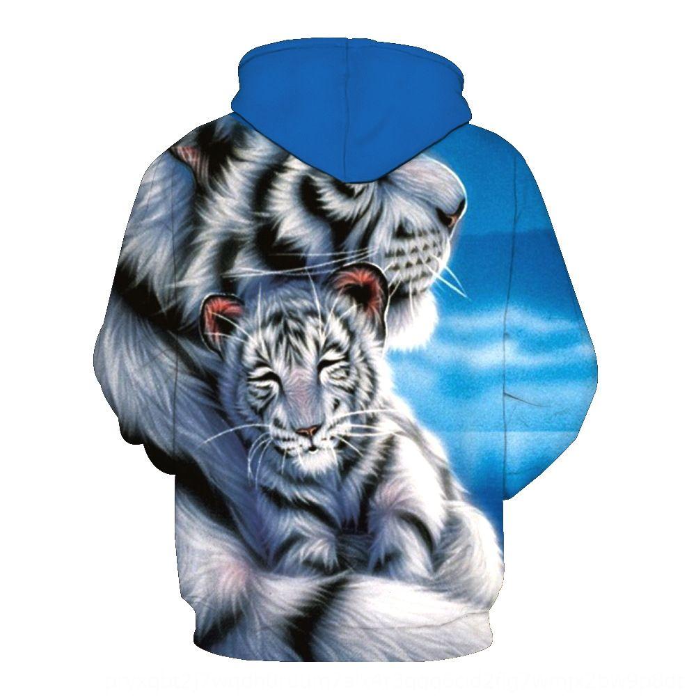 Print tigre bianca con l'usura sanitario uomini cappuccio giacca cappuccio marea marea degli uomini del rivestimento tasca FniqL