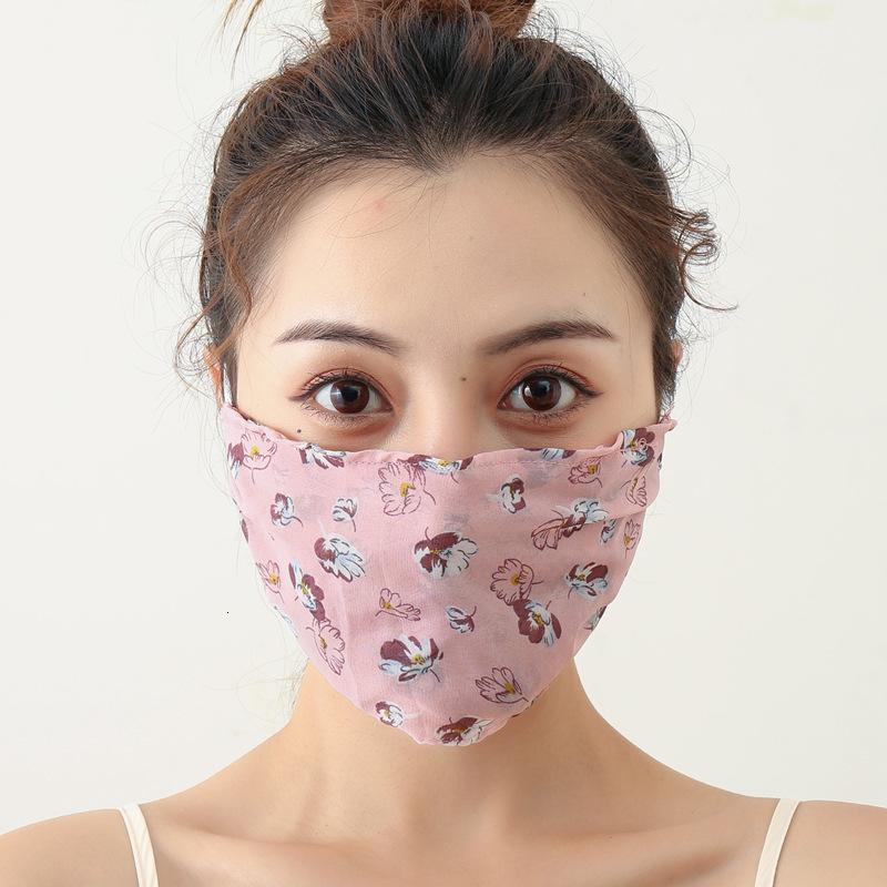Kadınlar ise Yaz Güneş kremi Nefes Stereo Koruma İçin Yeni Baskılı şifon Maskesi Ayarlanabilir Kulak-tipi Toz Kontrol Maske