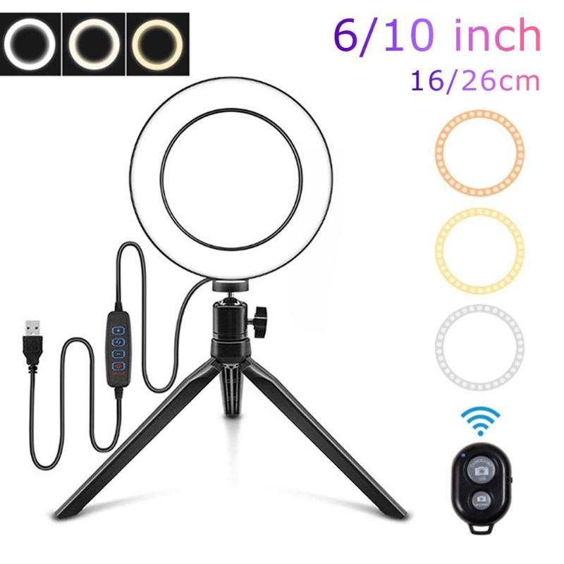10 Inch Ring Light com suporte LED Camera selfie Ring Light For Beauty vídeo ao vivo Camera Led Mobilephone Lamp