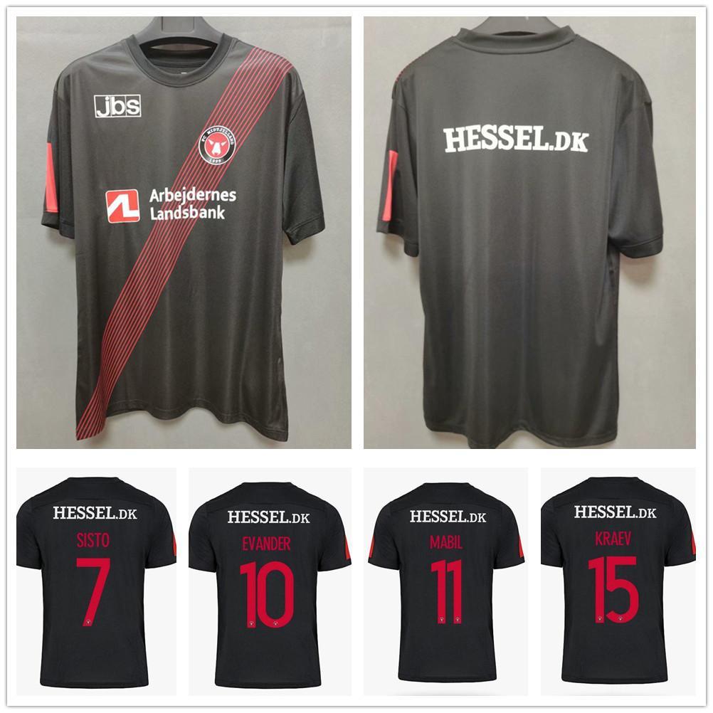 20 21 FC Midtjylland Football Jersey 7 Sisto 10 Evander 11 Mabil 15 Kraev 38 Onyeka 사용자 정의 2020 홈 블랙 축구 셔츠 Maillots 드 발