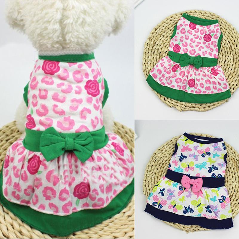 Linda mariposa floral impreso vestido de perro gran falda de columpio suave sin mangas pullover invierno cálido mascota ropa perrito perro traje de perro