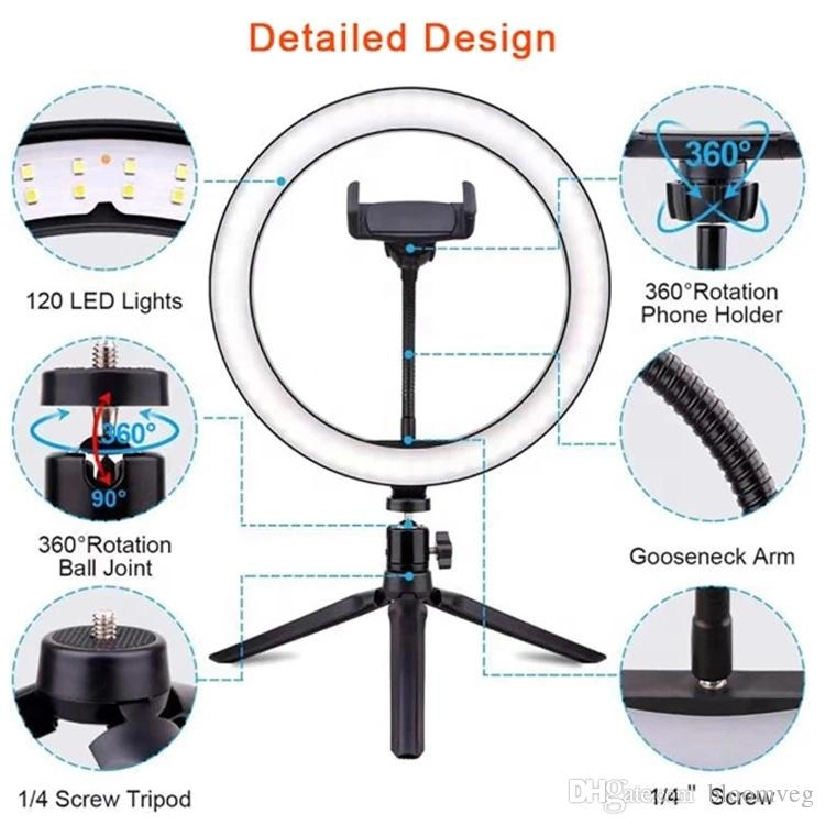 """26cm 10"""" Lamp Bluetooth Remote USB lighting Desk Mini Ring Fill Light Phone Steam Makeup, Led Circle Selfie With Tripod Stand"""