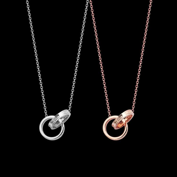 Europe America Fashion Style Lady Titanium steel Engrave T Letter 18K Plated Gold Necklaces With Double Circle Pendants 2 Color