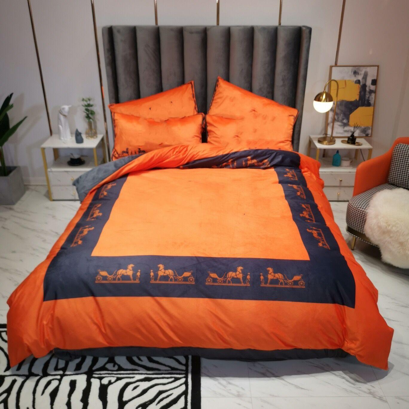 أورانج مصمم الفراش مجموعات حاف الغطاء الملكة سرير المعزون مجموعات غطاء 4 قطع وسادة الحالات عالية الجودة غطاء لحاف