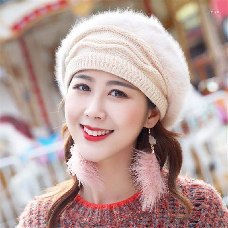 Capelli a maglia calda addensata di colore solido invernale per le donne in pile a maglia calde in pile a maglia beret di moda1