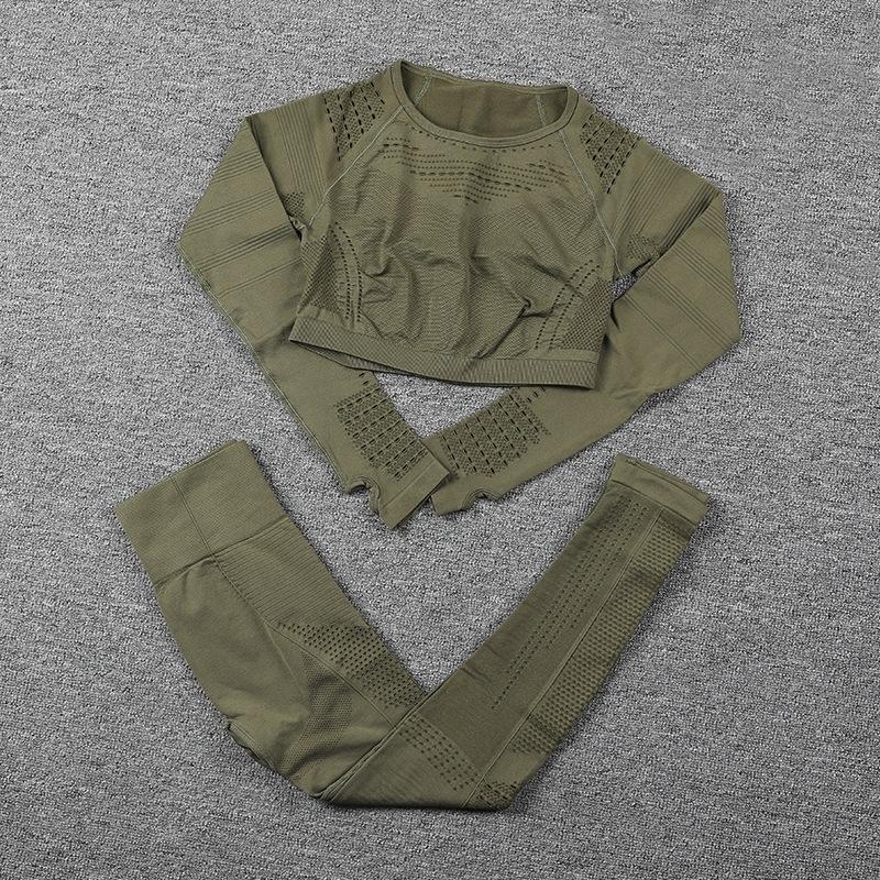 Спортивная одежда Йога наборы женщин для фитнес одежда женщина тренажерный зал мягкий с длинным рукавом рубашка леггинсы толчок бесшовные спортивные костюмы, ZF328 Y200328