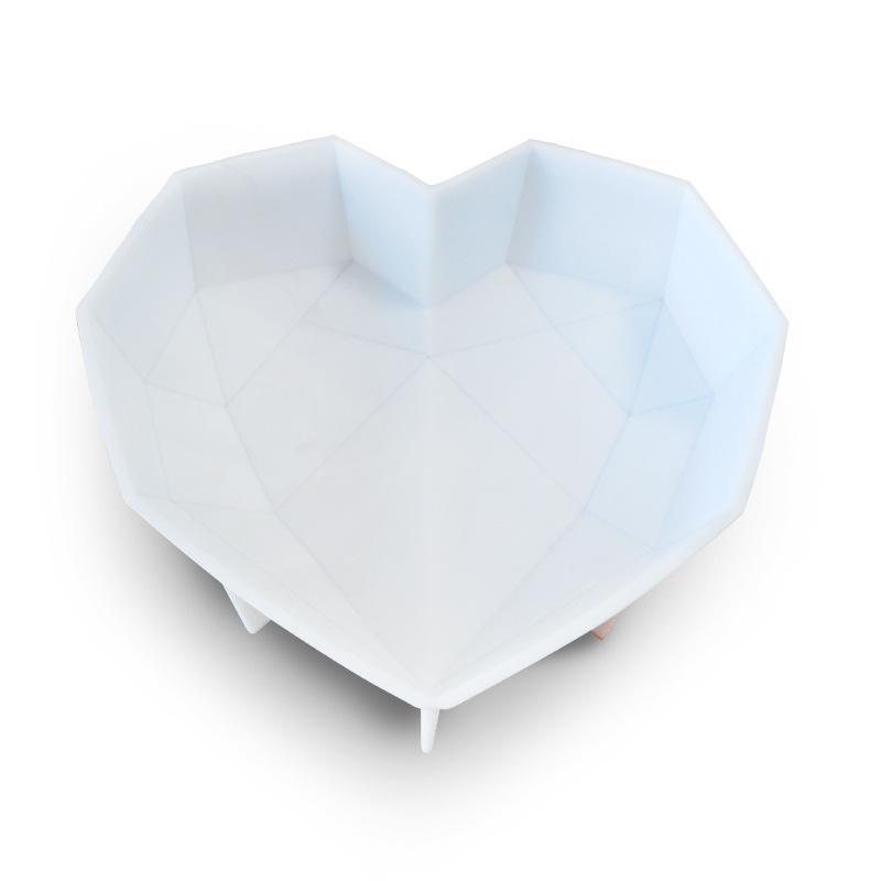 초콜릿 다이아몬드 케이크에 대 한 깨는 심장 실리콘 금형 초콜릿 무스 케이크 베이킹을위한 곰팡이가있는 심장 금형