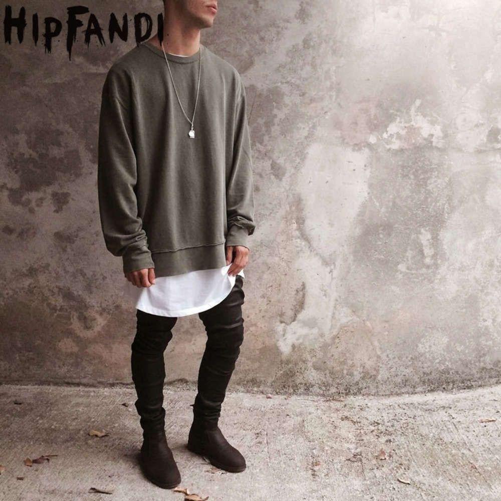 Nuove felpe da uomo con cappuccio Hip-hop oversize spalle dreoping spalle pullover Hole Design Kanye West Style Abbigliamento Streetwear