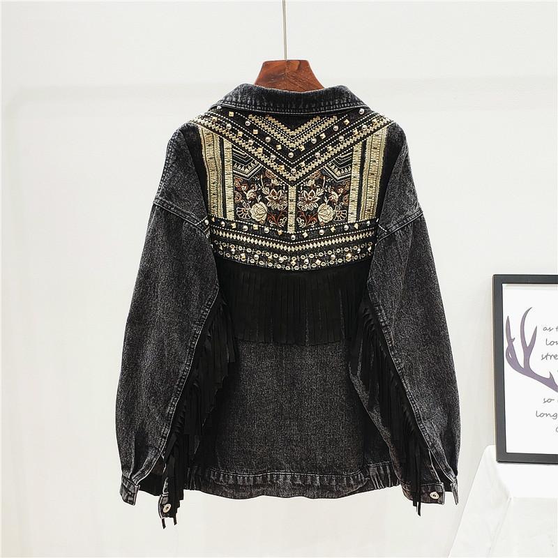 Harajuku Джинсовой куртки женщины весна бисер цветы кисточка Streetwear Осень Черного Jasjes ДАСТ Сыпучие нагрудные Длинные рукава пальто 201006