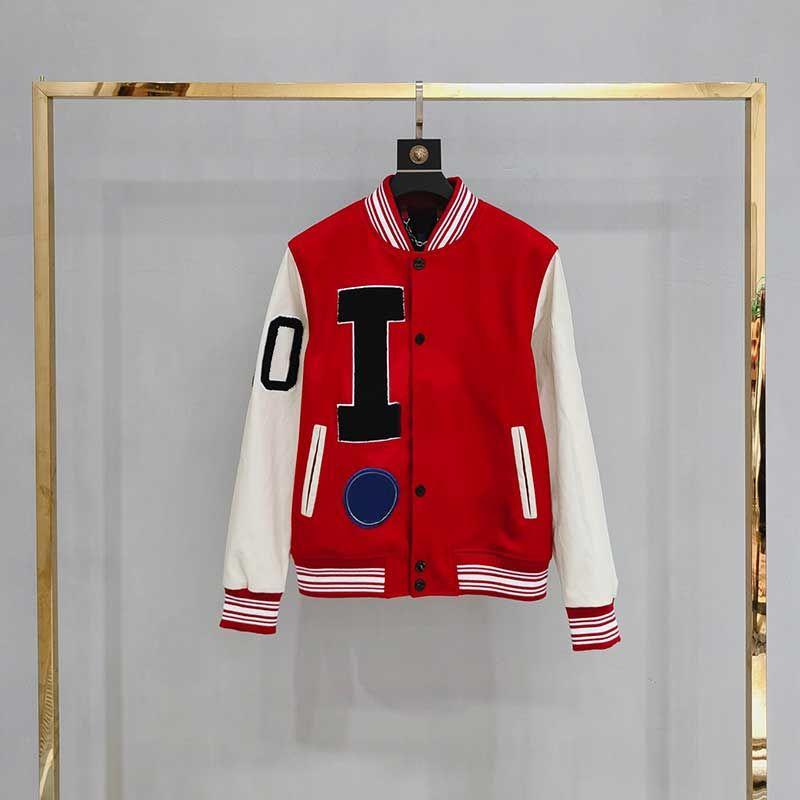파일럿 대리학 동물 편지 수건 자수 재킷 크로 셰 뜨개질 꽃 야구 자켓 높은 거리 커플 여성 망 가죽 슬리브 코트