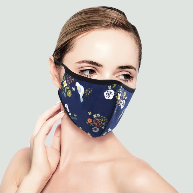 Maschere per adulti viso riutilizzabili maschera per viso lavabile in cotone stereoscopico respiratore polvere anti-Haze PM2.5 Maschere di cotone senza filtri EWB2923