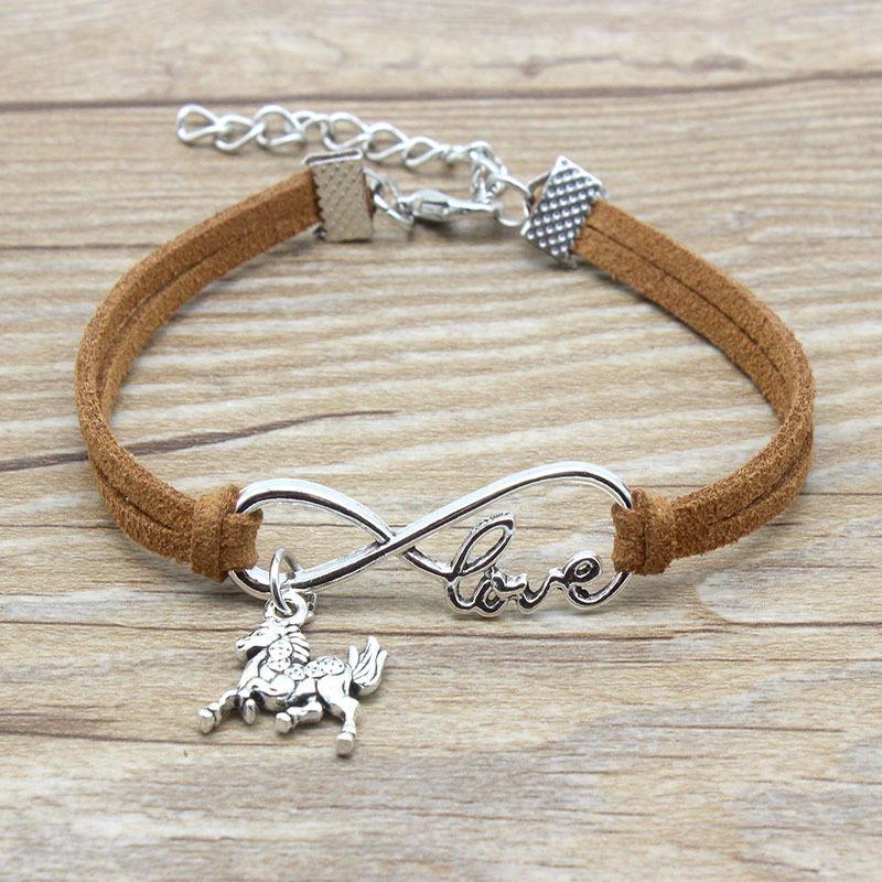 Minimalist Unendlichkeit Liebe Beste Freunde Freundschaft Geschenk Unendlichkeit Love Horses Pferd Charm Suede-Leder-Armbänder für Frauen
