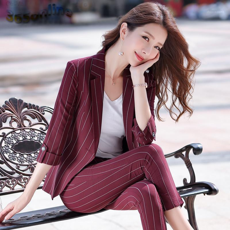 Estilos formais mulheres mulheres ternos com calças e jaquetas casaco elegante listrado meia manga escritório senhoras femininas blazers1