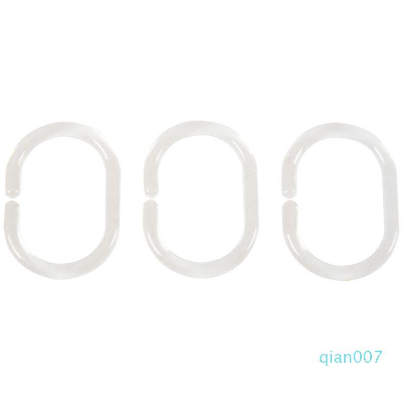 12pcs Plástico Banho Shower Curtain Hooks Anéis - Clear
