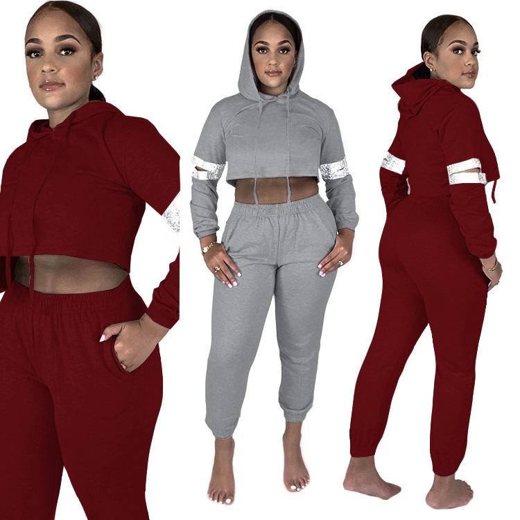 2021 spring fashion new casual style sets long sleeve hooded collar short top elastic long pants pure color two piece sets