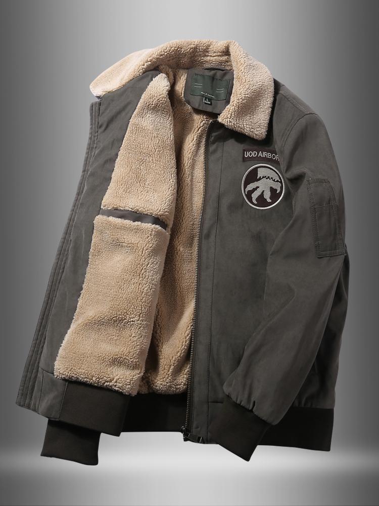 Зимний хлопка ватник мужской флис утолщенной инструмент хлопка ватник среднего возраста ягненка флис пилот куртки папа красивый