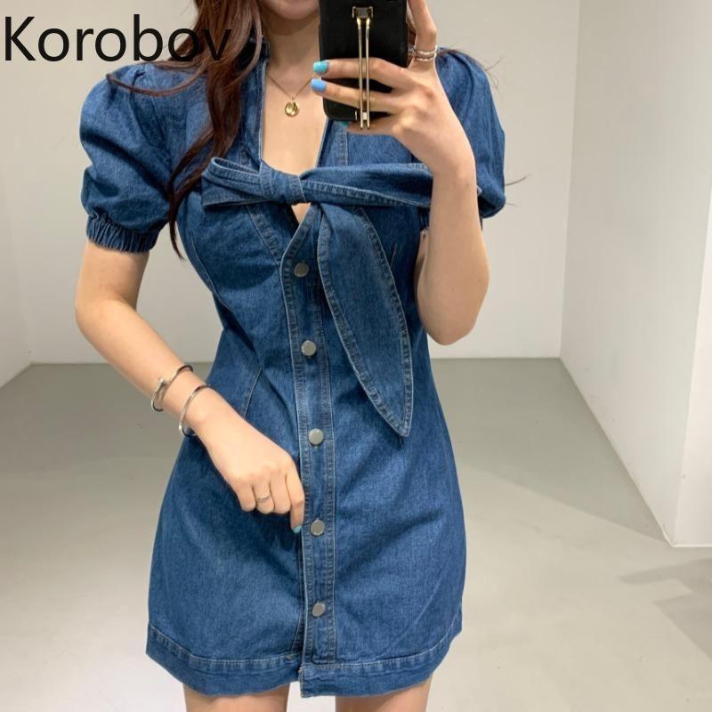 Korobov Kore Streetwear Seksi Denim Mini Elbiseler Vintage Bow Yaka Puff Kol A-Line Elbise Tek Breasted vestidos Femme